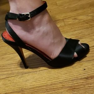 Yves Saint Laurent black satin high heels